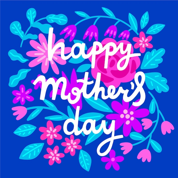 Cute floral mother's day lettering Free Vector