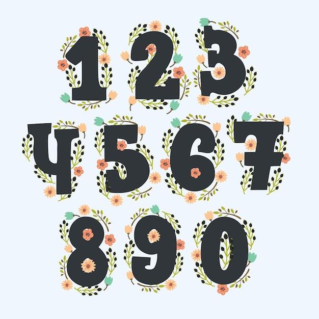 装飾が施されたかわいい花の数字。花で作られたヴィンテージカラーの数字。 Premiumベクター