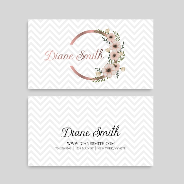 Cute floral pattern business card name card design template Premium Vector