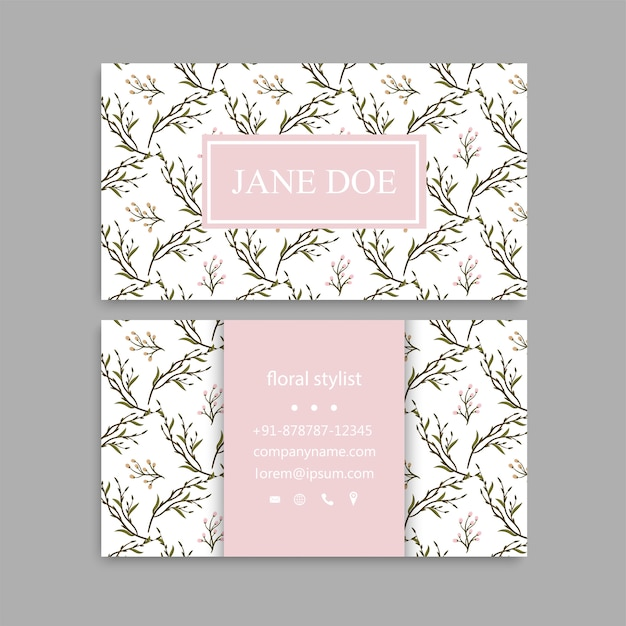 Cute Floral Pattern Business Card Name Card Design