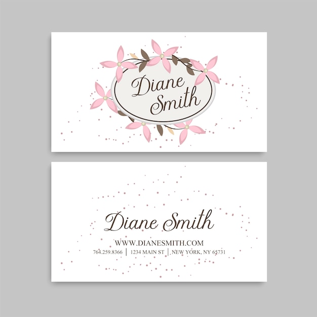Cute Floral Pattern Business Card Name Card Design Template Vector