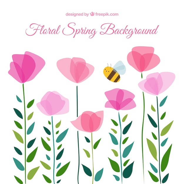 Cute floral spring background Free Vector