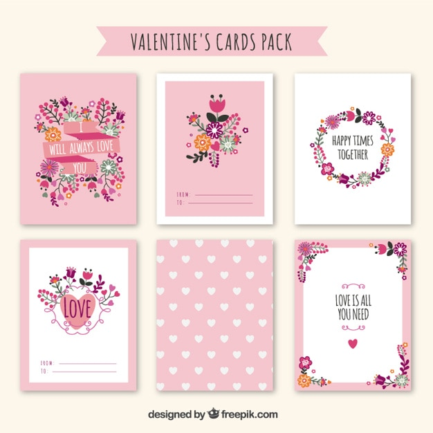 Cute floral valentine day cards pack Vector – Valentines Cards Cute
