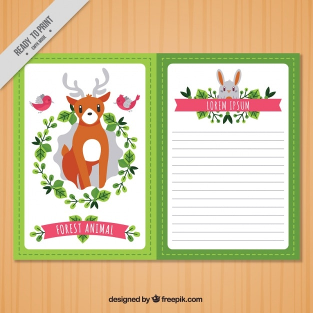 Cute floral vintage card with animals Vector | Free Download