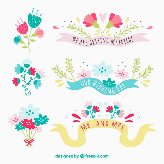 Cute floral wedding decoration vector free download cute floral wedding decoration free vector junglespirit Choice Image