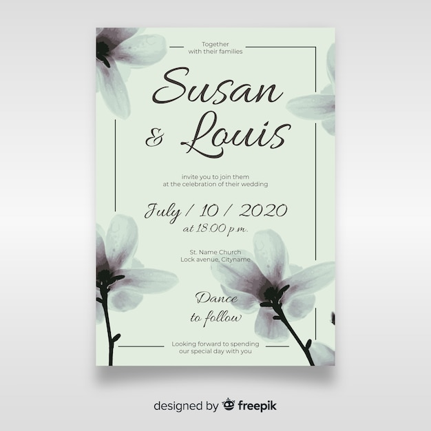 Cute floral wedding invitation template Free Vector