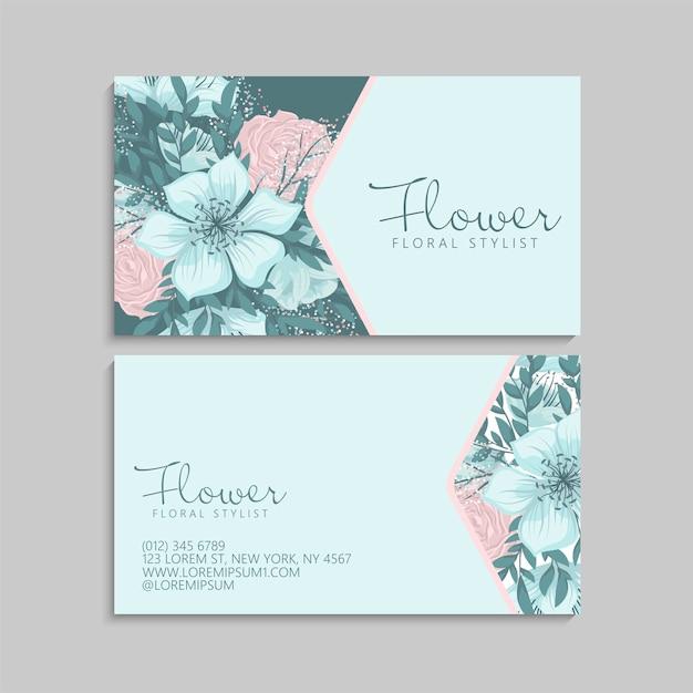Симпатичный цветочный шаблон визитки Бесплатные векторы