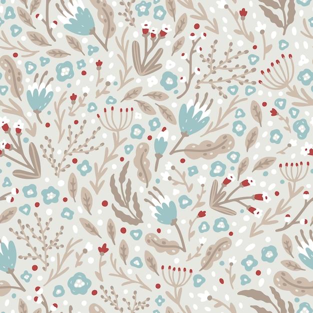 Симпатичный цветочный узор из маленьких зимних цветочков в строгом скандинавском стиле. бесшовный образец Premium векторы