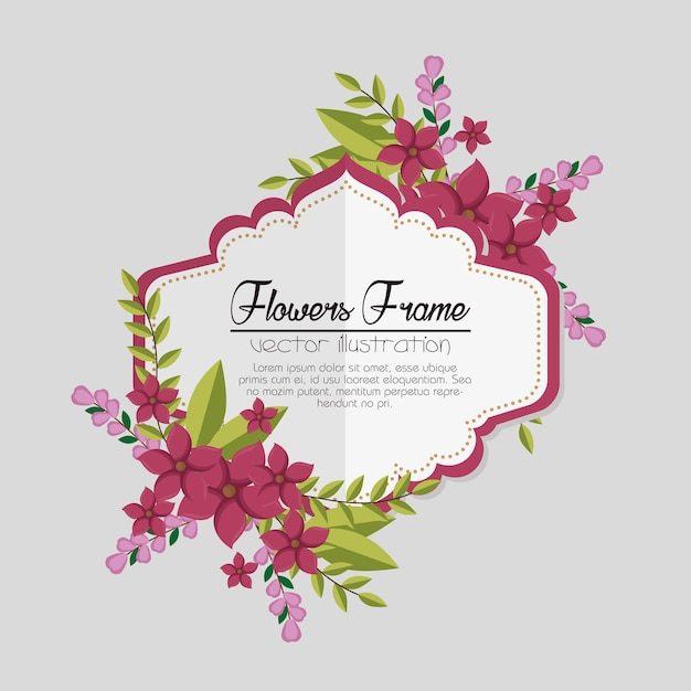 Cute Flowers Frame Background Vector Premium Download