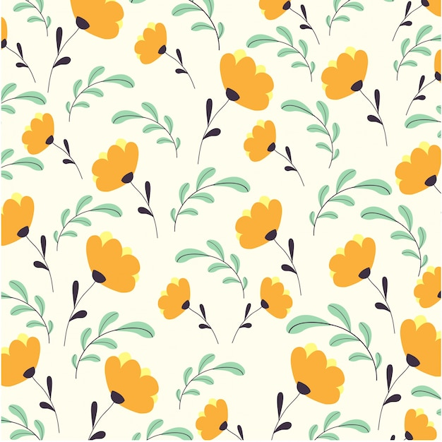 Cute Flowers Pattern Vector