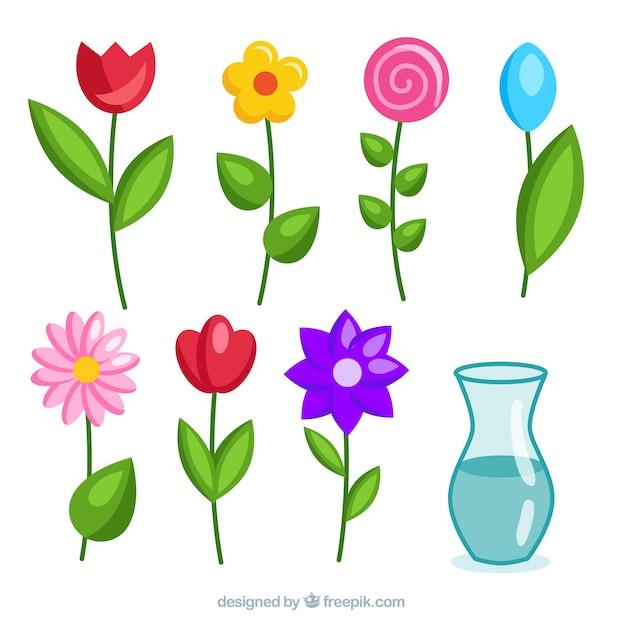 Cute flowers set Free Vector
