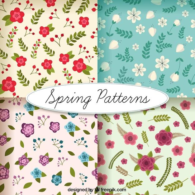 Cute flowery patterns Free Vector