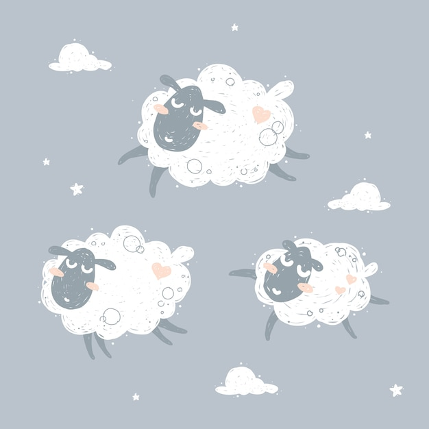 Cute flying sheep and dreaming illustration Premium Vector
