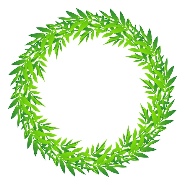 Cute foliage round frame, green leaves circle border, wreath of bamboo leaves and branches Premium Vector