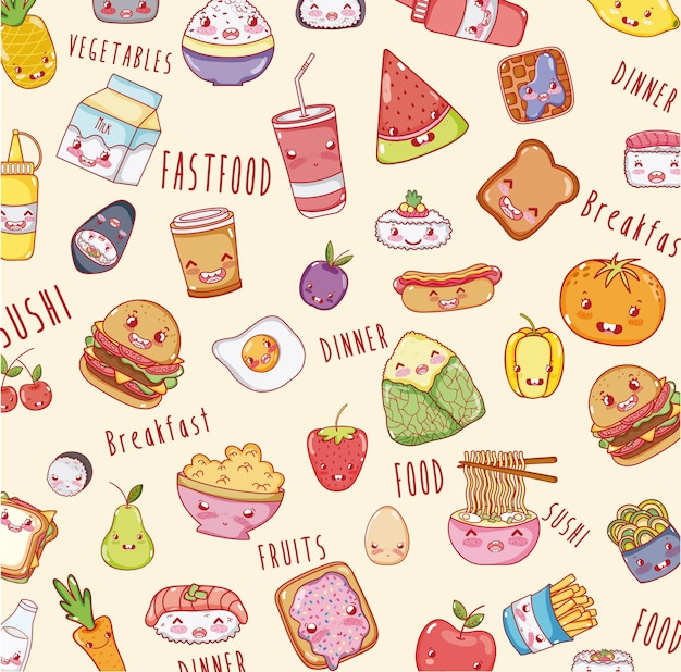 Cute food background kawaii cartoons vector premium download - Kawaii food wallpaper ...