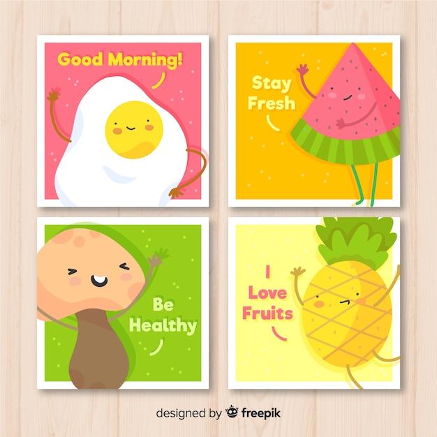 Cute food card set Free Vector