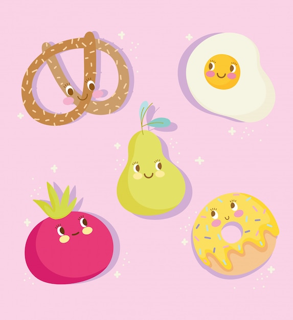 Cute food nutrition cartoon character egg pear tomato donut and pretzel icons vector illustration Premium Vector
