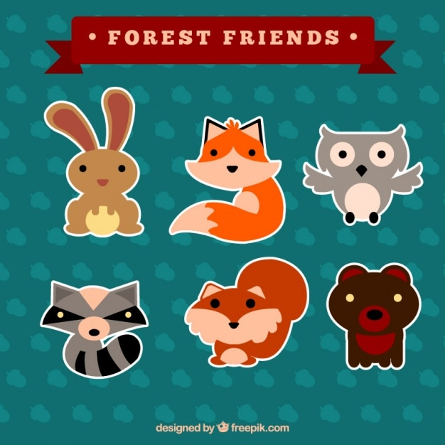 Cute forest animal stickers