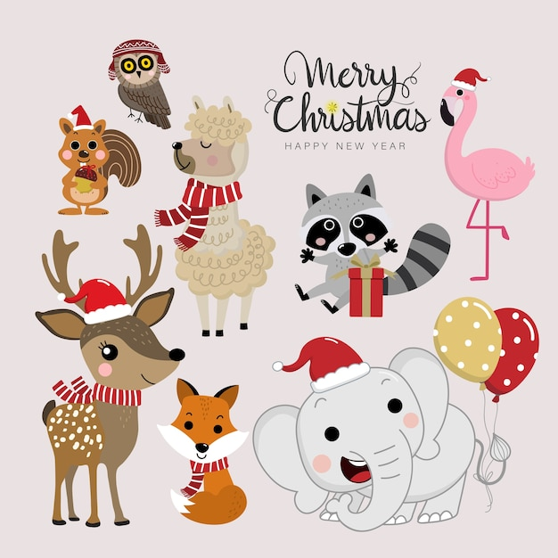 Cute forest animals in christmas holidays. Premium Vector