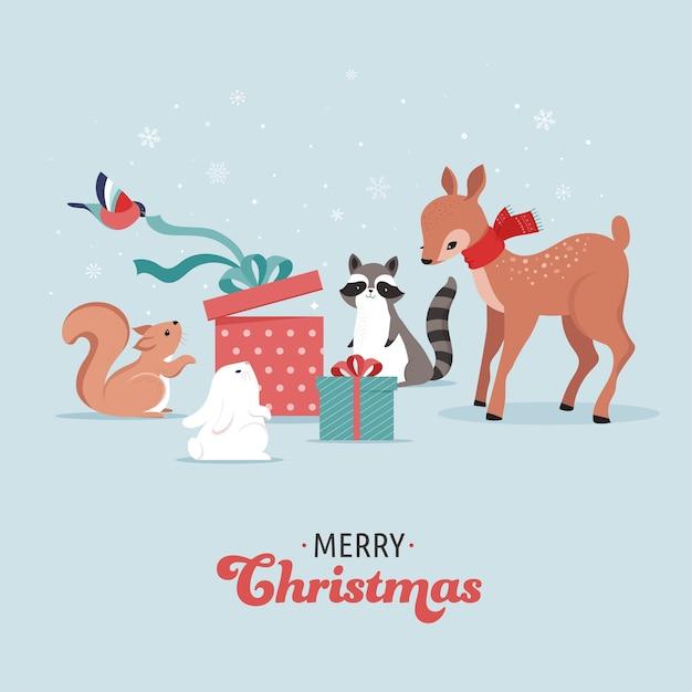 Симпатичные лесные животные, зимние и рождественские сцены с оленями, кроликами, енотами, медведями и белками. идеально подходит для дизайна баннеров, поздравительных открыток, одежды и этикеток. Premium векторы