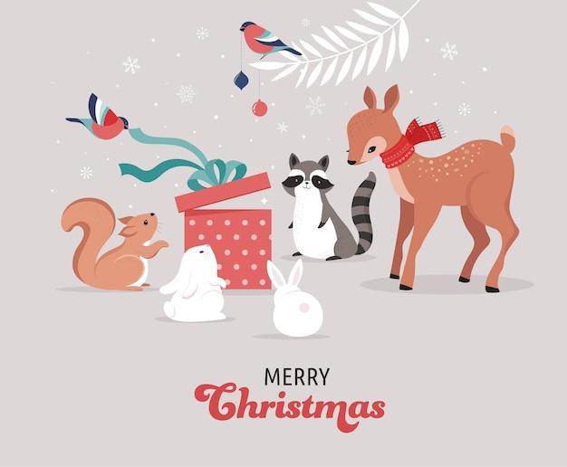かわいい森の動物、鹿、ウサギ、アライグマ、クマ、リスとの冬とクリスマスのシーン。バナー、グリーティングカード、アパレル、ラベルのデザインに最適です。 Premiumベクター