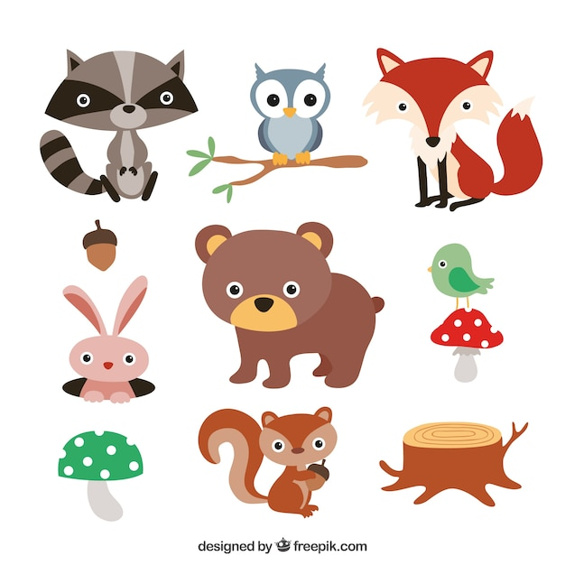Cute forest animals Free Vector