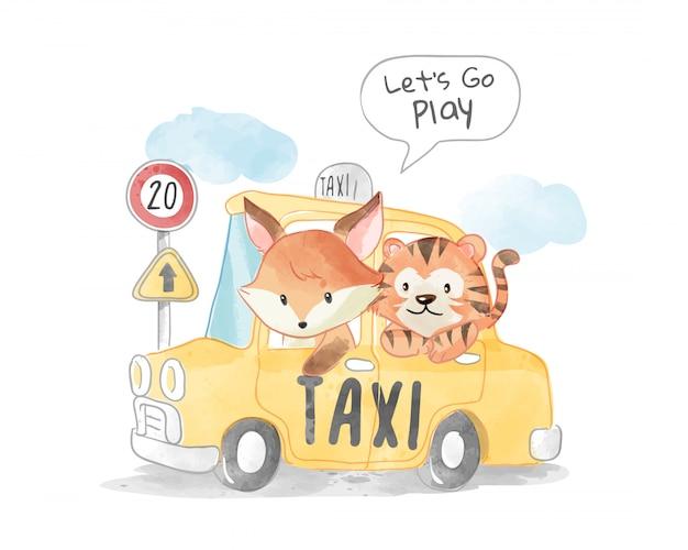 かわいいキツネと黄色のタクシーイラストのトラ Premiumベクター