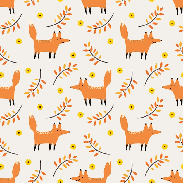 Cute fox in autumn seamless pattern vector. Premium Vector