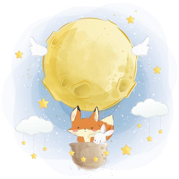 Cute fox and bunny flying with moon air balloon Premium Vector