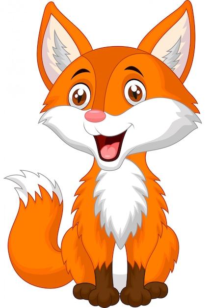Симпатичная лиса мультфильм Premium векторы