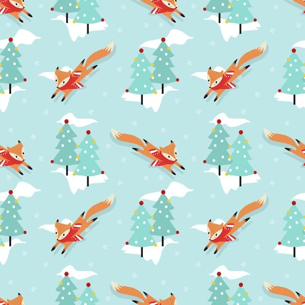 Cute fox in christmas winter seamless pattern Premium Vector