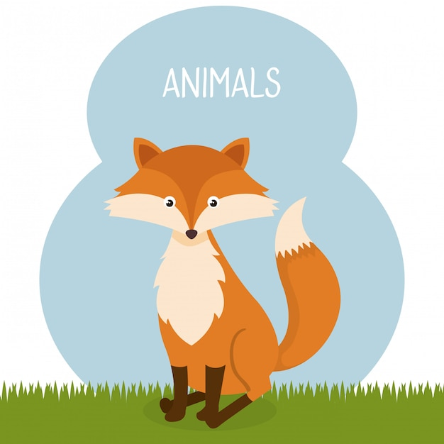 Cute fox in the field landscape character Free Vector