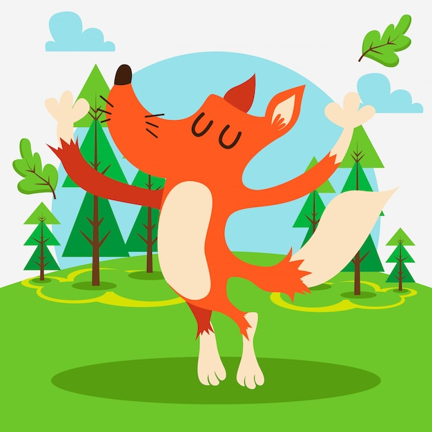 Cute fox in the forest Premium Vector