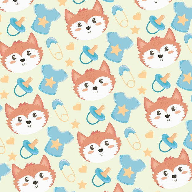 Cute fox head with short and pacifier pattern Free Vector