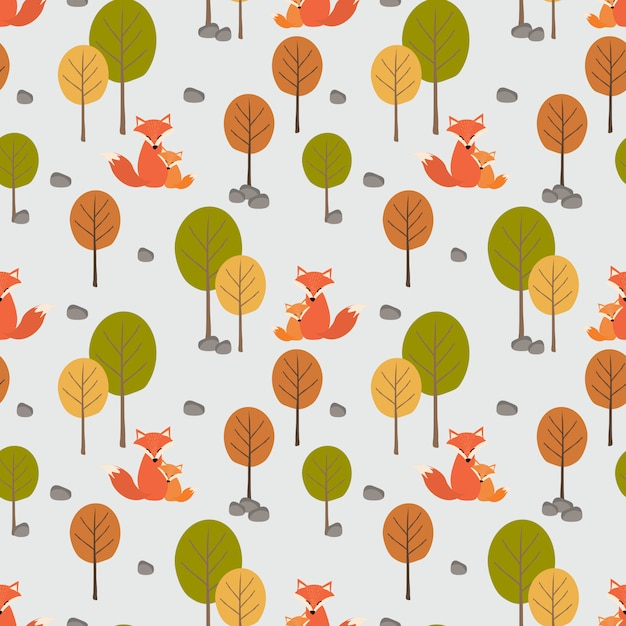 Cute fox (mom and her kid) in autumn forest seamless pattern. Premium Vector