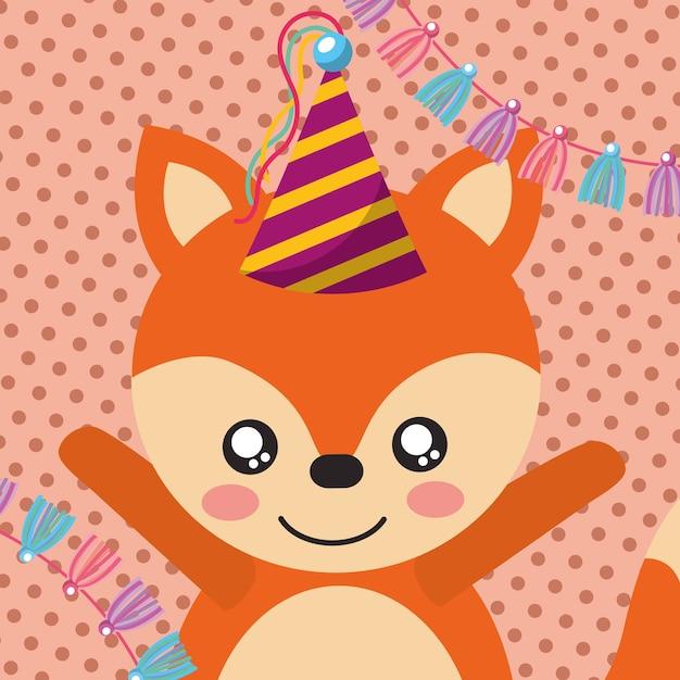 a72e0413dba722 Cute fox party hat decoration label Premium Vector