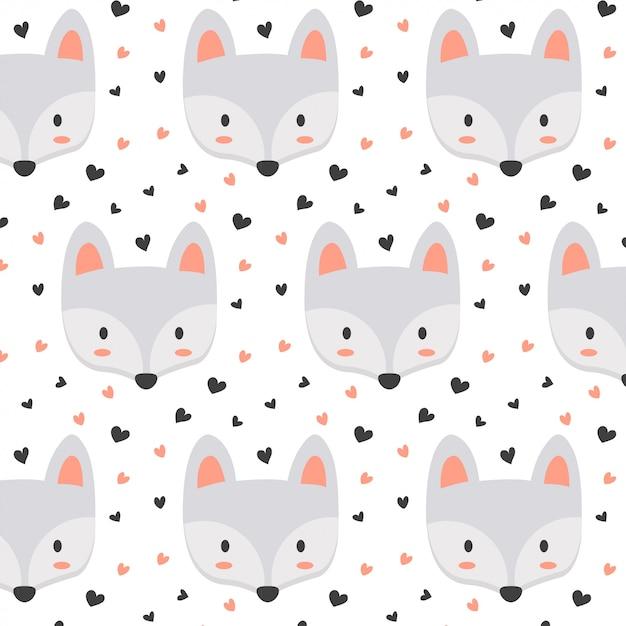 Cute fox pattern with heart Premium Vector