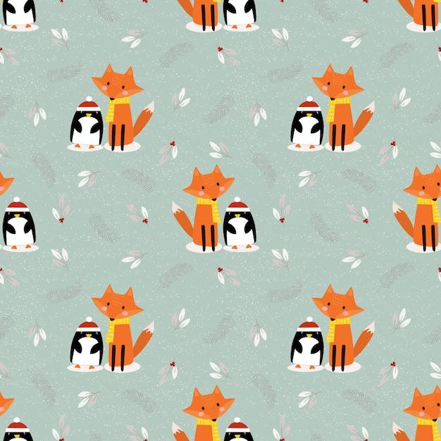 Cute fox and penguin in christmas season seamless pattern Premium Vector