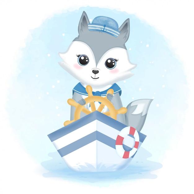 Cute fox sailor driving boat and swim ring illustration Premium Vector