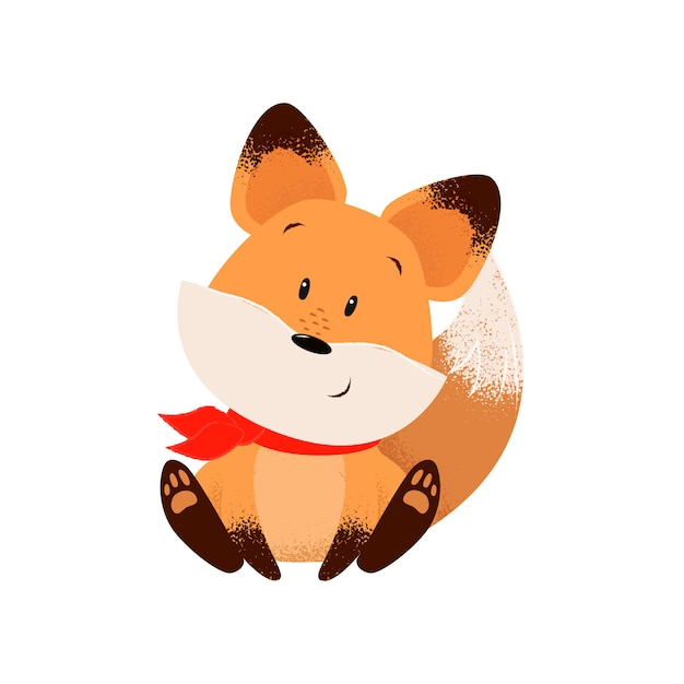 Cute fox in scarf Free Vector
