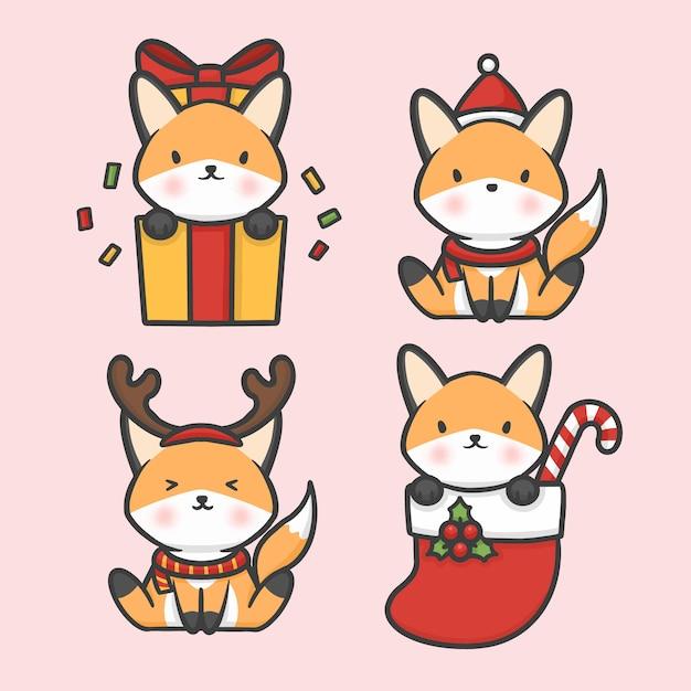 Симпатичные лиса набор костюм рождественские руки обращается мультфильм вектор Premium векторы