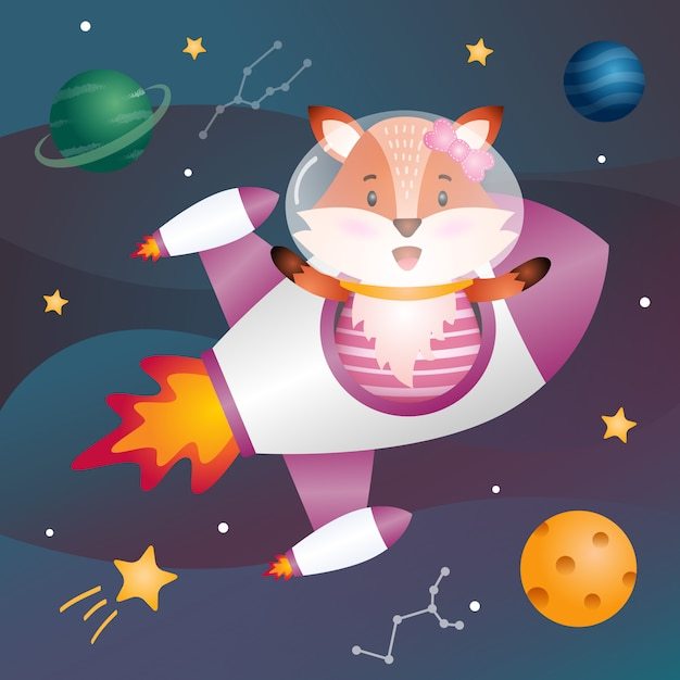 A cute fox in the space galaxy Premium Vector