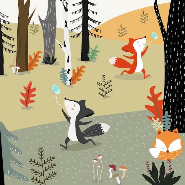 Cute fox in spring forest cartoon. Premium Vector