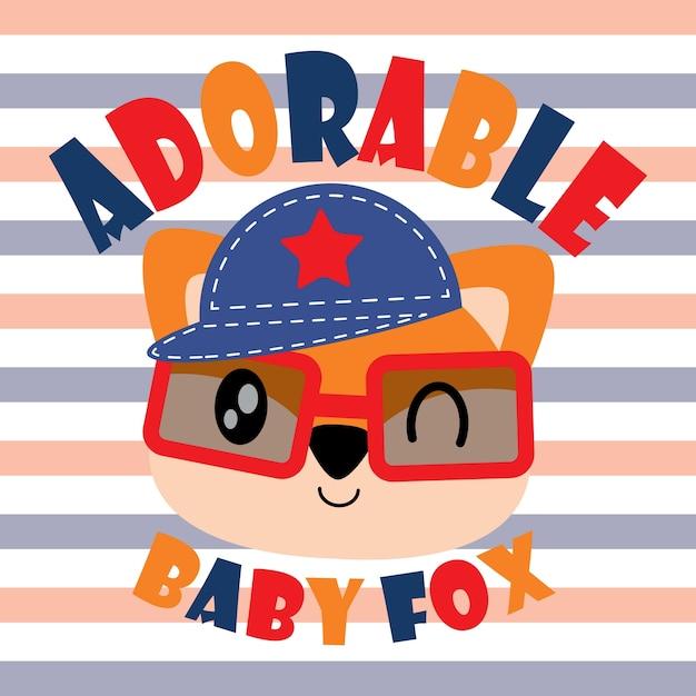 Cute fox vector cartoon illustration for kid t shirt ...