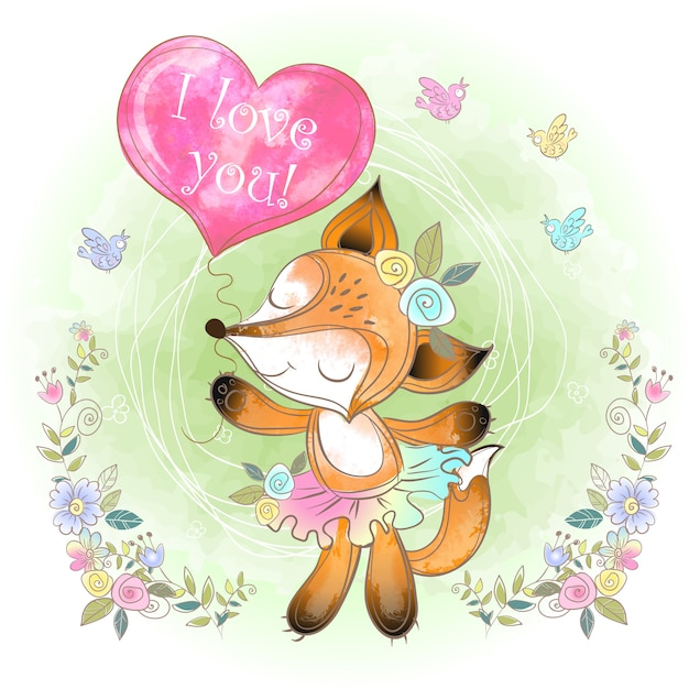 Cute fox with a balloon in the form of a heart. valentine. i love you. Premium Vector