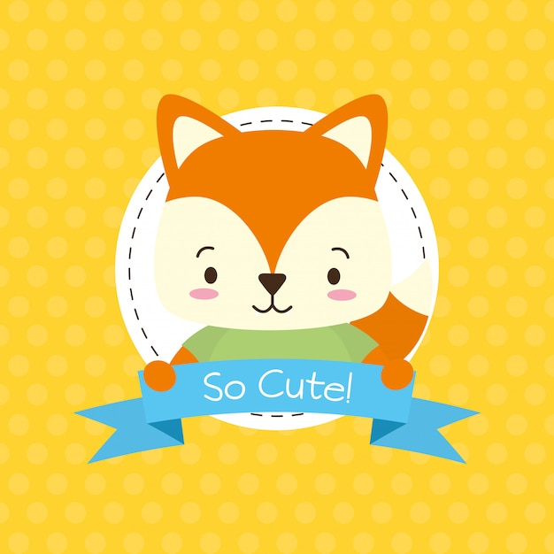 Cute fox with so cute ribbon, flat style Free Vector