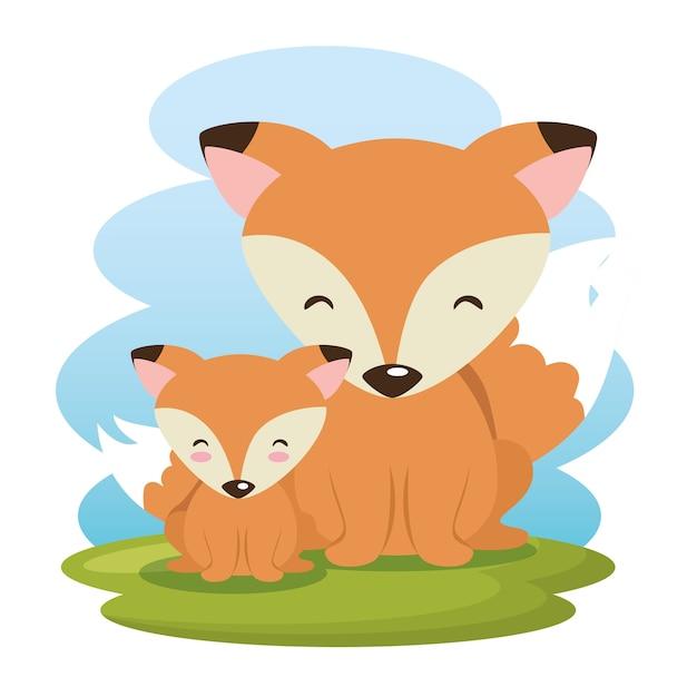 Милые лисы отец и сын персонажи Premium векторы