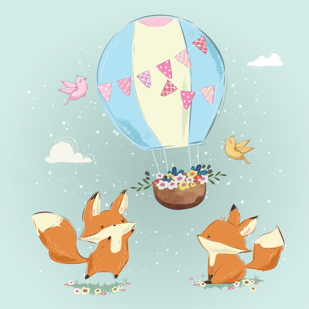 Cute foxes playing with the air balloon Premium Vector