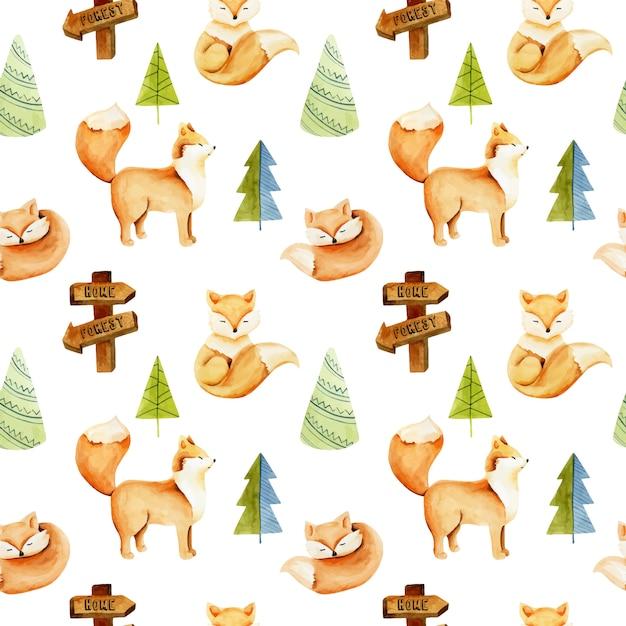Cute foxes, watercolor pattern Premium Vector