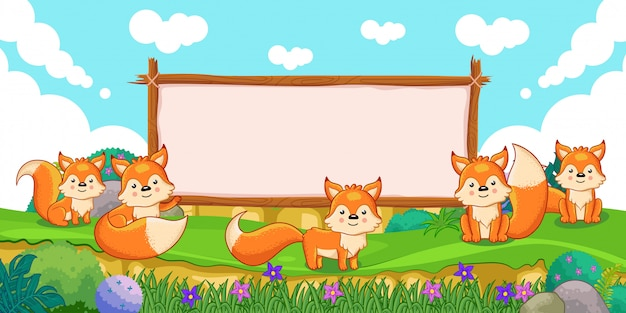 Cute foxes with a blank sign wood Premium Vector